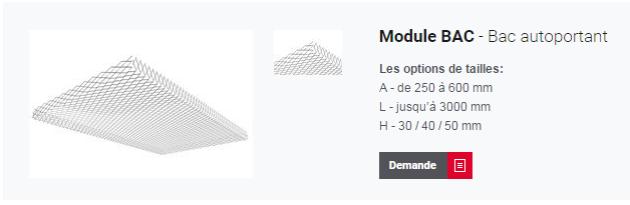 Module BAC pour plafond métallique