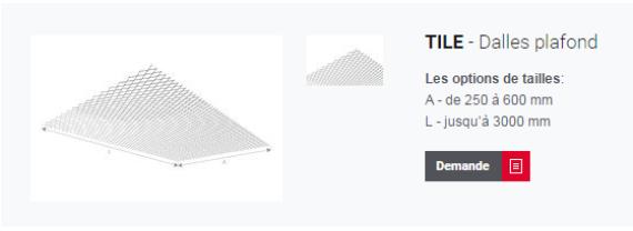 TILE - Dalles pour plafond métallique