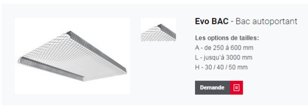 Evo BAC pour plafond métallique