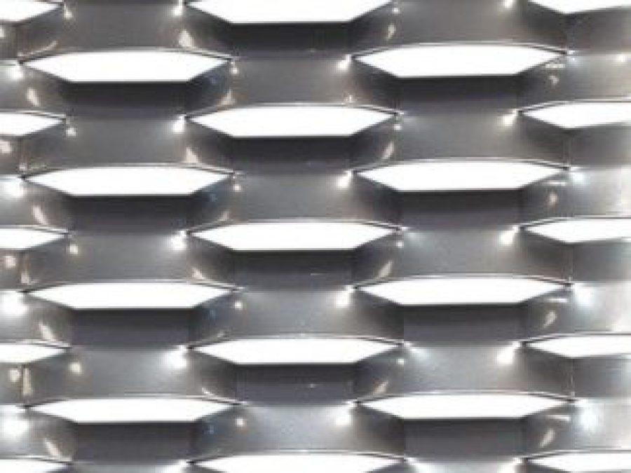 métal étiré alu, maille de metal deploye acier ou inox, LD100x34, tole ajourée pour facade métallique,
